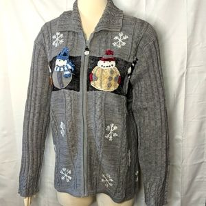 STORYBOOK KNITS Gray Snowman Winter Sweater NEW 1X